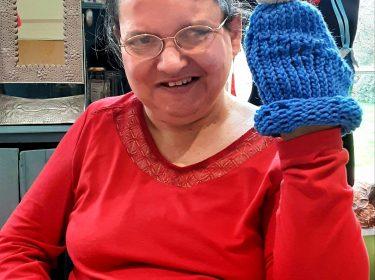 In lockdown 2021, honing her knitting skills